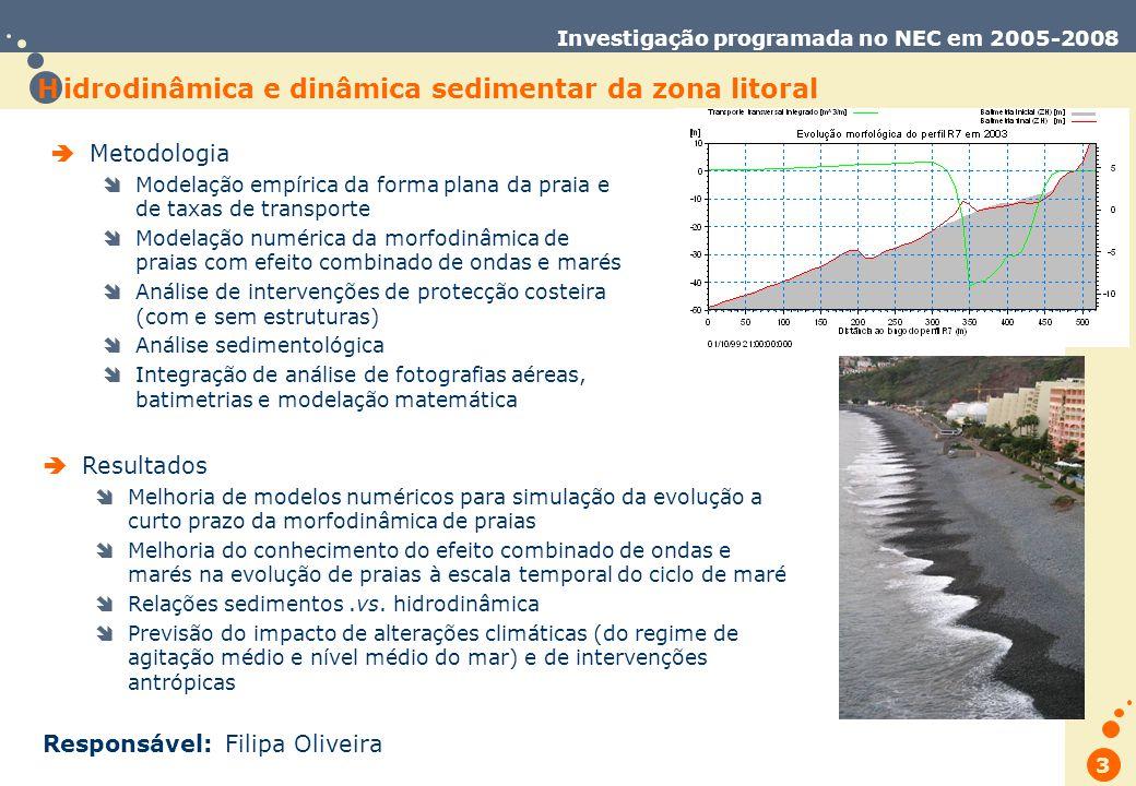 Trabalho de Database Marketing 3 Investigação programada no NEC em 2005-2008 H idrodinâmica e dinâmica sedimentar da zona litoral Metodologia Modelação empírica da forma plana da praia e de taxas de transporte Modelação numérica da morfodinâmica de praias com efeito combinado de ondas e marés Análise de intervenções de protecção costeira (com e sem estruturas) Análise sedimentológica Integração de análise de fotografias aéreas, batimetrias e modelação matemática Resultados Melhoria de modelos numéricos para simulação da evolução a curto prazo da morfodinâmica de praias Melhoria do conhecimento do efeito combinado de ondas e marés na evolução de praias à escala temporal do ciclo de maré Relações sedimentos.vs.