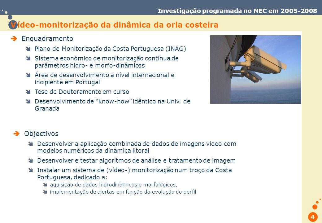 Trabalho de Database Marketing 4 Investigação programada no NEC em 2005-2008 Enquadramento Plano de Monitorização da Costa Portuguesa (INAG) Sistema económico de monitorização contínua de parâmetros hidro- e morfo-dinâmicos Área de desenvolvimento a nível internacional e incipiente em Portugal Tese de Doutoramento em curso Desenvolvimento de know-how idêntico na Univ.