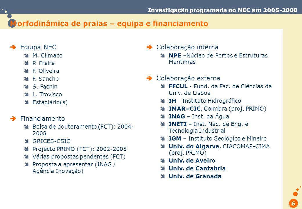 Trabalho de Database Marketing 6 Investigação programada no NEC em 2005-2008 M orfodinâmica de praias – equipa e financiamento Equipa NEC M.