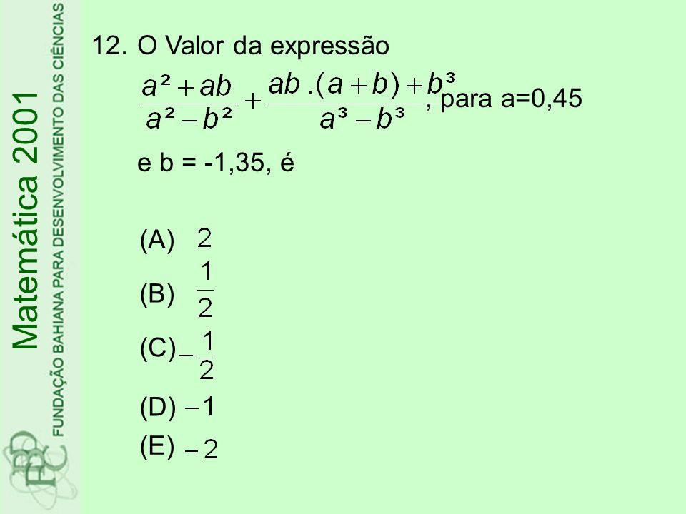 12.O Valor da expressão, para a=0,45 e b = -1,35, é Matemática 2001 (A) (B) (C) (D) (E)