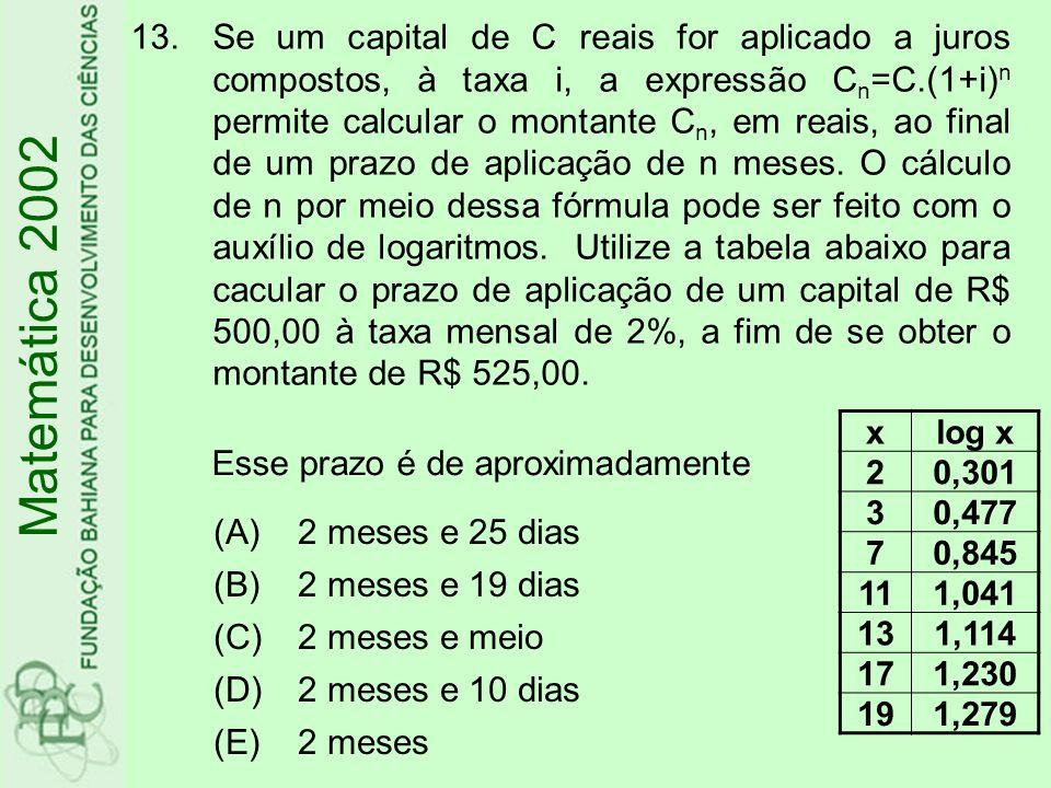 13.Se um capital de C reais for aplicado a juros compostos, à taxa i, a expressão C n =C.(1+i) n permite calcular o montante C n, em reais, ao final d