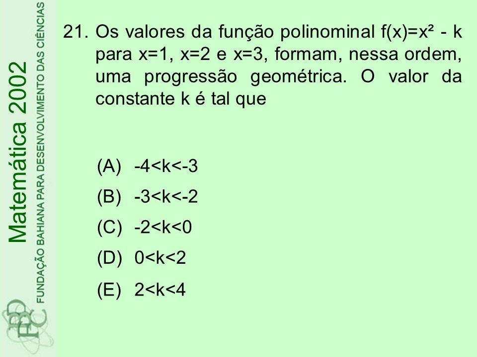 21.Os valores da função polinominal f(x)=x² - k para x=1, x=2 e x=3, formam, nessa ordem, uma progressão geométrica. O valor da constante k é tal que