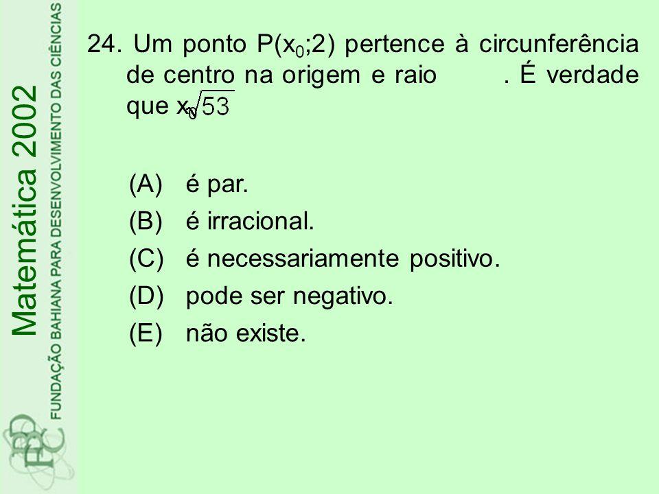 Matemática 2002 24. Um ponto P(x 0 ;2) pertence à circunferência de centro na origem e raio. É verdade que x 0 (A)é par. (B)é irracional. (C)é necessa