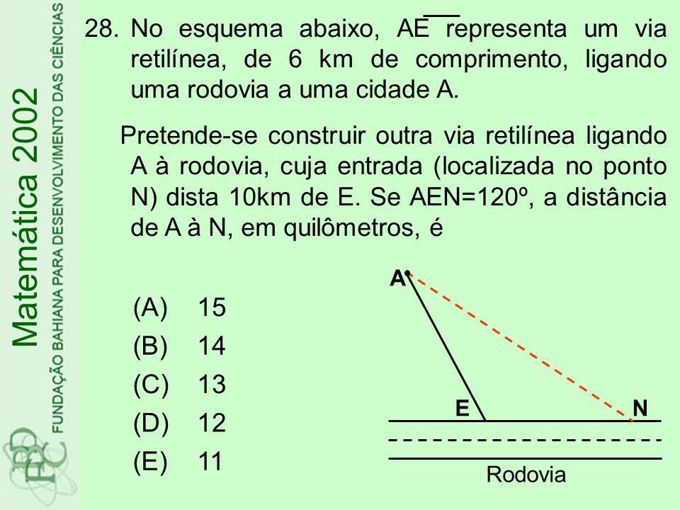 28.No esquema abaixo, AE representa um via retilínea, de 6 km de comprimento, ligando uma rodovia a uma cidade A. Pretende-se construir outra via reti
