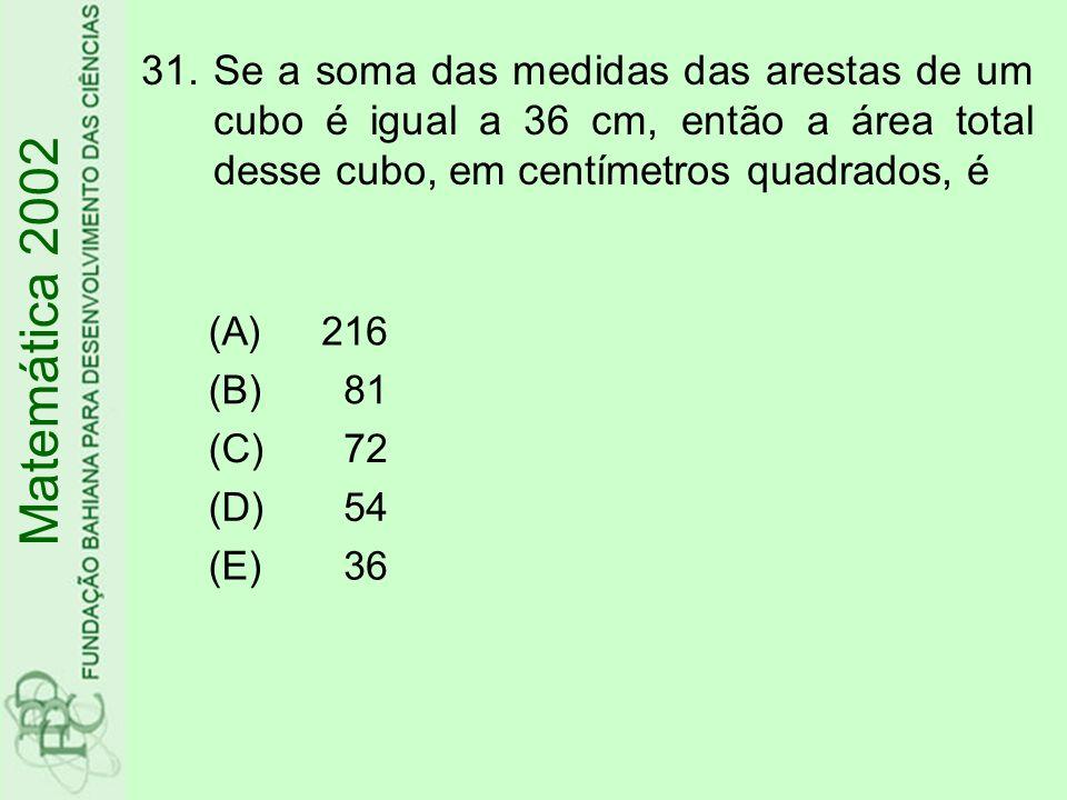 31.Se a soma das medidas das arestas de um cubo é igual a 36 cm, então a área total desse cubo, em centímetros quadrados, é Matemática 2002 (A)216 (B)81 (C)72 (D)54 (E)36