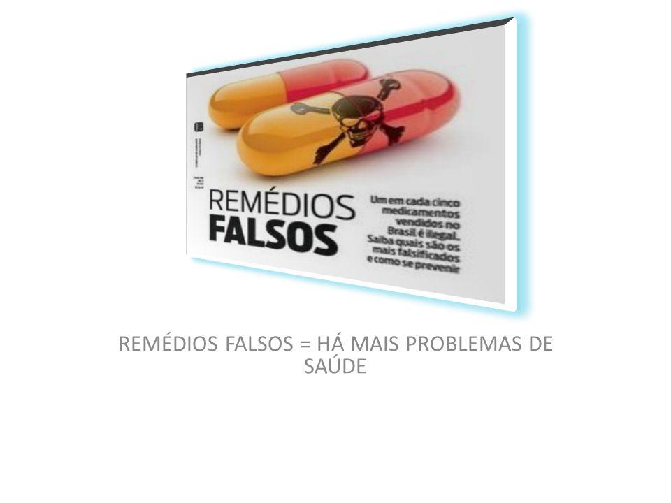 REMÉDIOS FALSOS = HÁ MAIS PROBLEMAS DE SAÚDE