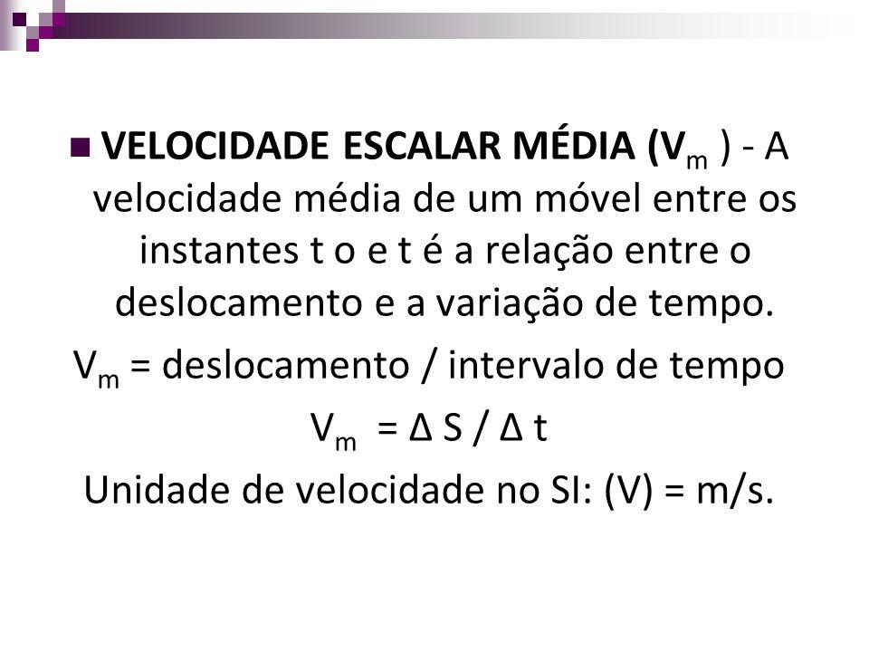 VELOCIDADE ESCALAR MÉDIA (V m ) - A velocidade média de um móvel entre os instantes t o e t é a relação entre o deslocamento e a variação de tempo. V