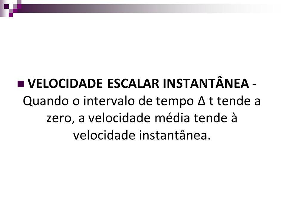 VELOCIDADE ESCALAR INSTANTÂNEA - Quando o intervalo de tempo Δ t tende a zero, a velocidade média tende à velocidade instantânea.