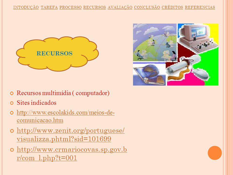 Recursos multimídia ( computador) Sites indicados http://www.escolakids.com/meios-de- comunicacao.htm http://www.escolakids.com/meios-de- comunicacao.