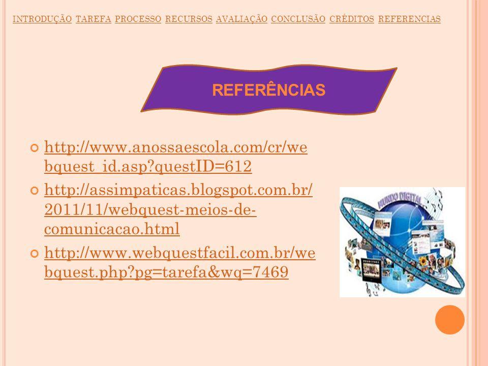 REFERÊNCIAS http://www.anossaescola.com/cr/we bquest_id.asp?questID=612 http://www.anossaescola.com/cr/we bquest_id.asp?questID=612 http://assimpatica
