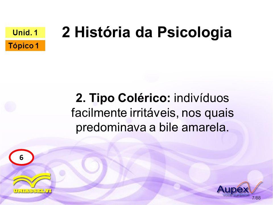 2 História da Psicologia 8/88 6 Unid. 1 Tópico 1 Tipo Colérico