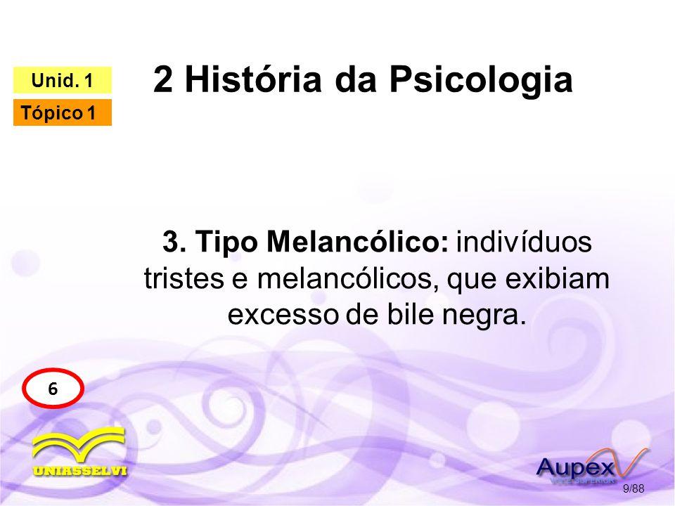 2 História da Psicologia 10/88 6 Unid. 1 Tópico 1 Tipo Melancólico
