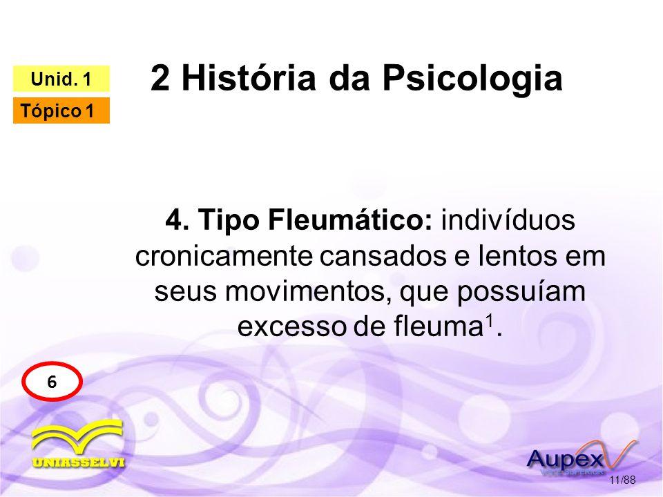 2 História da Psicologia 12/88 6 Unid. 1 Tópico 1 Tipo Fleumático