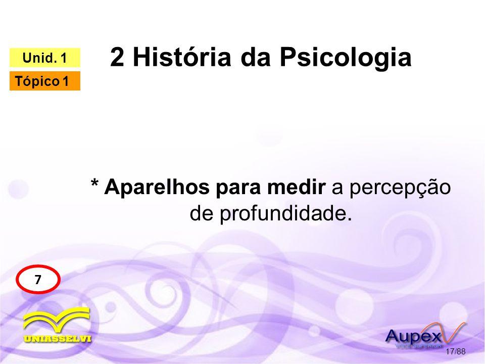 3 Contextualização da Psicologia 3.1 Áreas de Conhecimento da Psicologia 18/88 10 Unid.