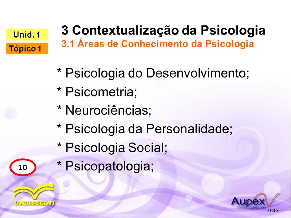 3 Contextualização da Psicologia 3.1 Áreas de Conhecimento da Psicologia 19/88 10 Unid.