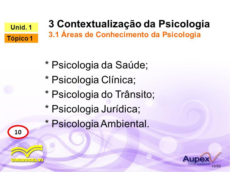 3 Contextualização da Psicologia 3.2 Áreas de Atuação da Psicologia 20/88 14 Unid.