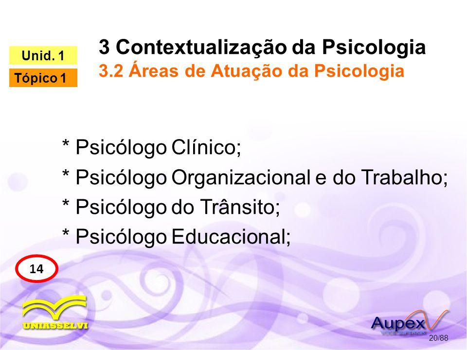3 Contextualização da Psicologia 3.2 Áreas de Atuação da Psicologia 21/88 15 Unid.