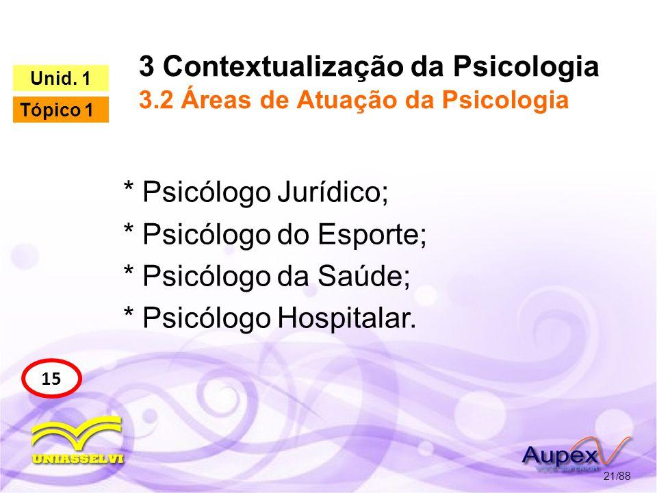 3 Contextualização da Psicologia 3.2 Áreas de Atuação da Psicologia 22/88 16 Unid.