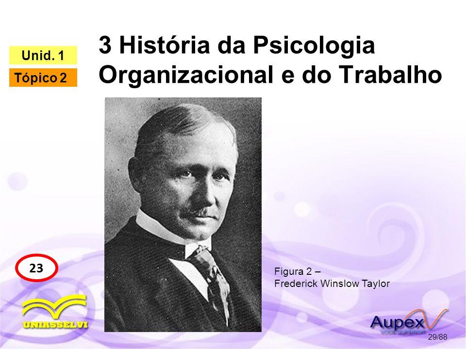 3 História da Psicologia Organizacional e do Trabalho 30/88 23 Unid.