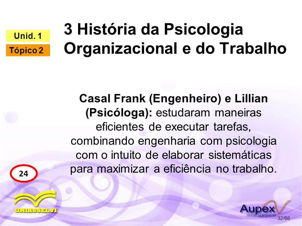 3 História da Psicologia Organizacional e do Trabalho 33/88 24 Unid.