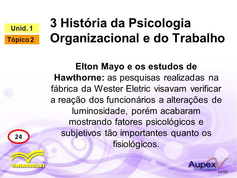 3 História da Psicologia Organizacional e do Trabalho 35/88 24 Unid.