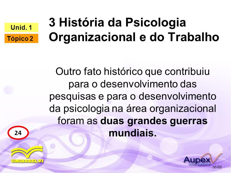 3 História da Psicologia Organizacional e do Trabalho 37/88 24 Unid.