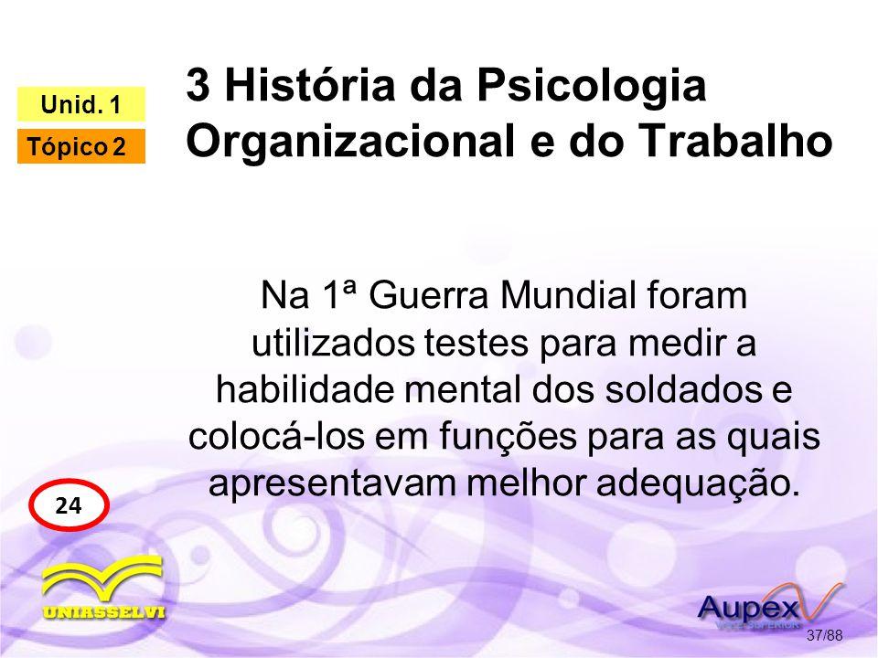 3 História da Psicologia Organizacional e do Trabalho 38/88 24 Unid.