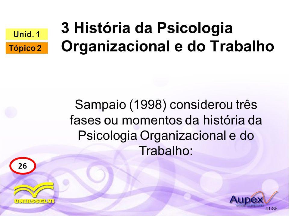 3 História da Psicologia Organizacional e do Trabalho 42/88 27 Unid.
