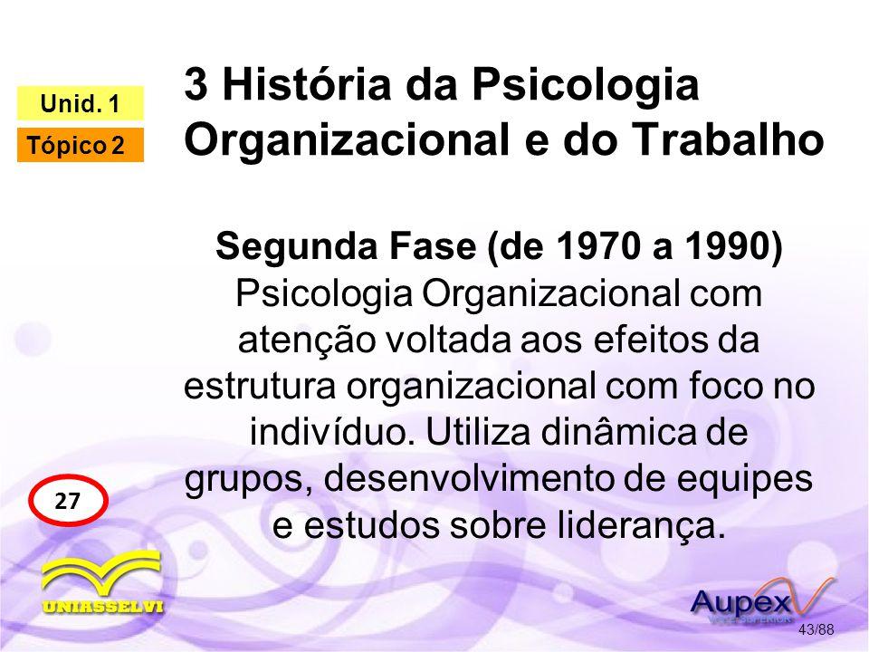 3 História da Psicologia Organizacional e do Trabalho 44/88 27 Unid.