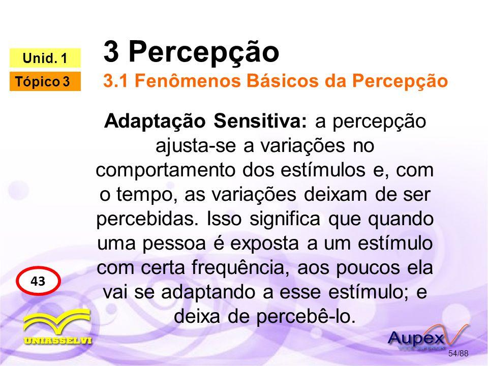 3 Percepção 3.2 Fatores que influenciam no processo de Percepção 55/88 44 Unid.