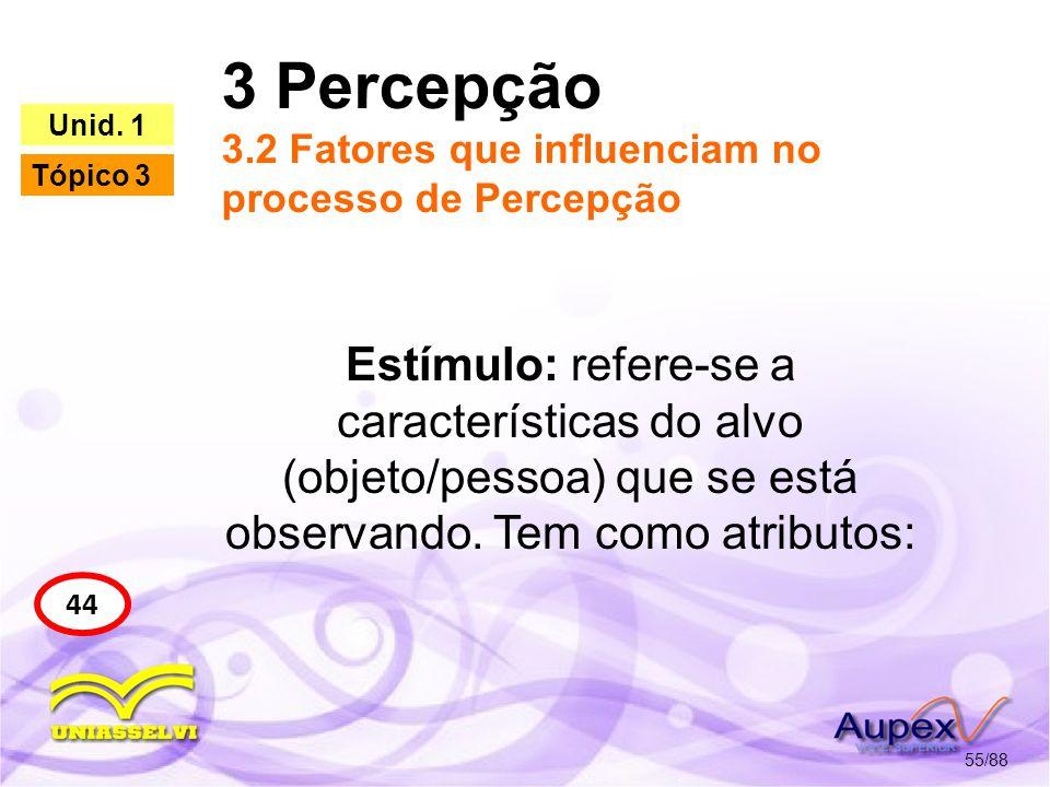 3 Percepção 3.2 Fatores que influenciam no processo de Percepção 56/88 44 Unid.