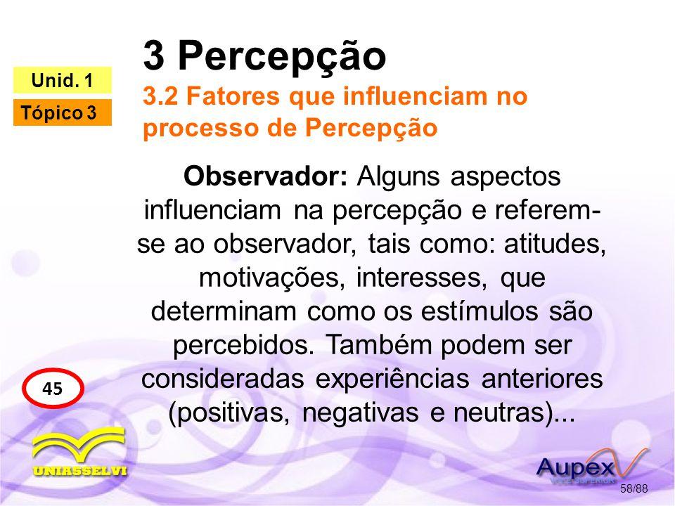 3 Percepção 3.2 Fatores que influenciam no processo de Percepção 59/88 45 Unid.