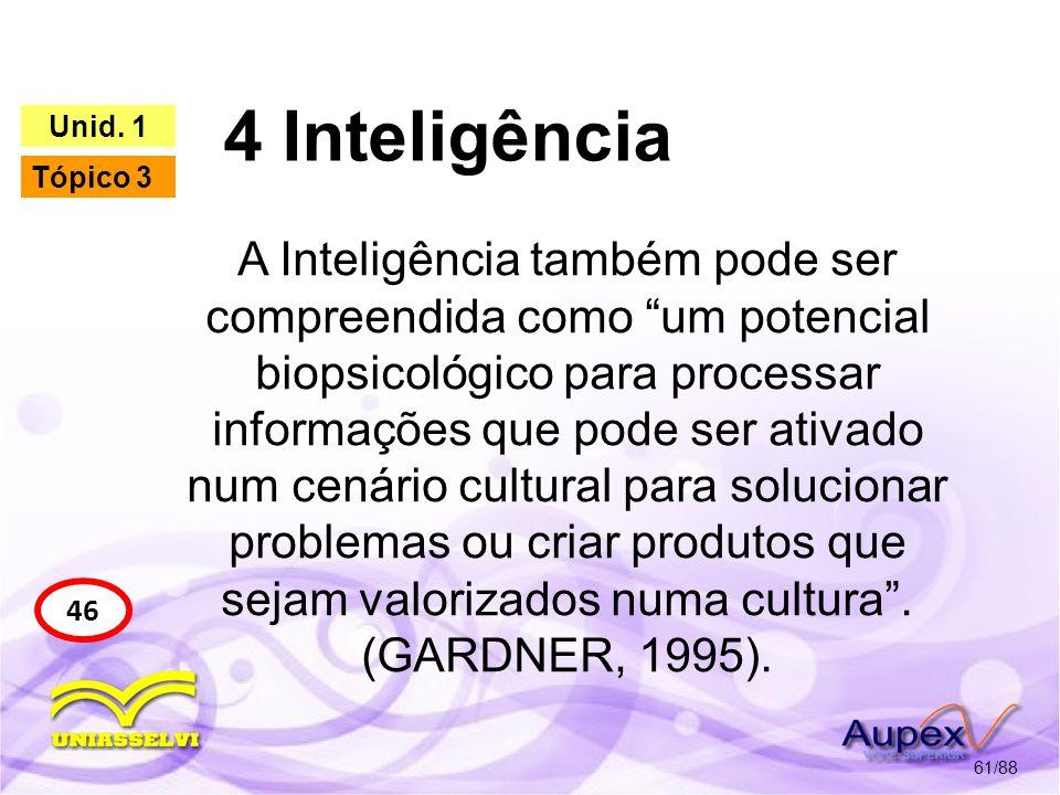 4 Inteligência 4.1 As Inteligências Múltiplas 62/88 46 Unid.