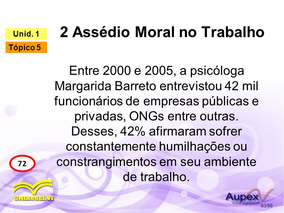 2 Assédio Moral no Trabalho 84/88 72 Unid.
