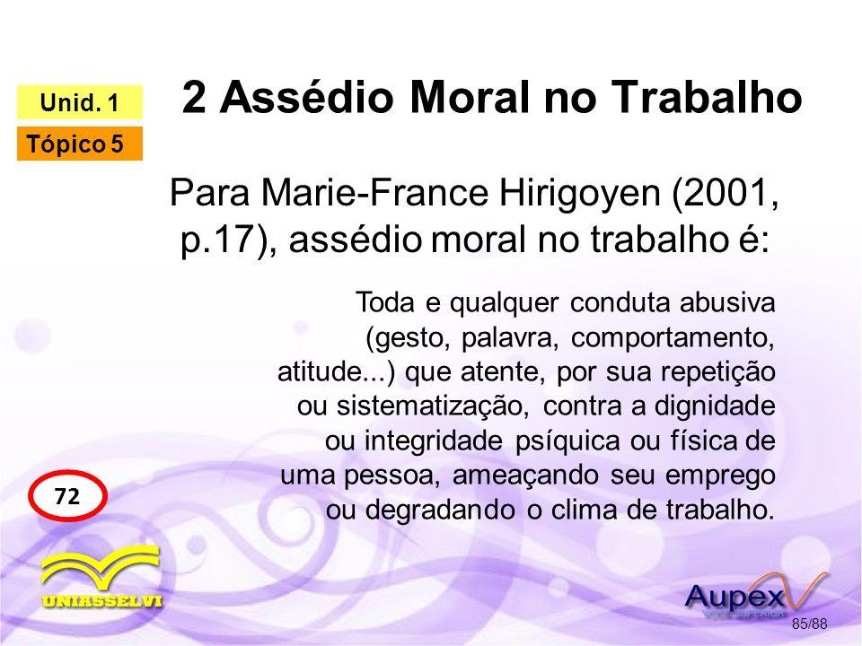 2 Assédio Moral no Trabalho 86/88 73 Unid.