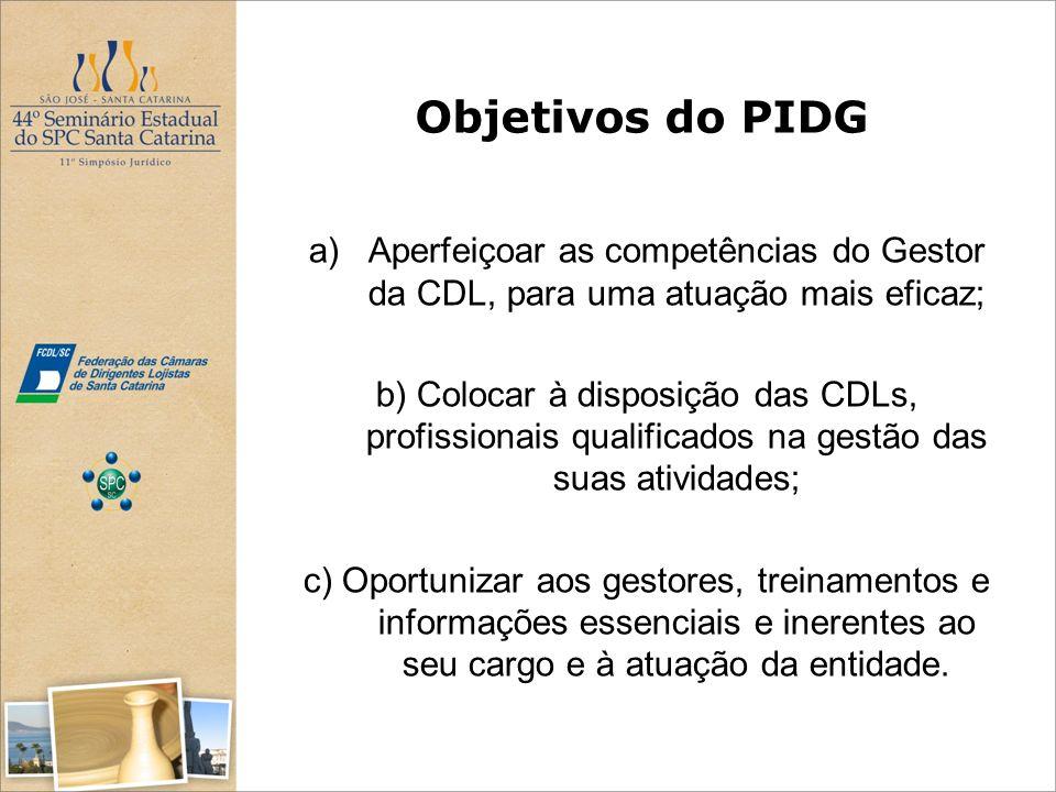 Objetivos do PIDG a)Aperfeiçoar as competências do Gestor da CDL, para uma atuação mais eficaz; b) Colocar à disposição das CDLs, profissionais qualif