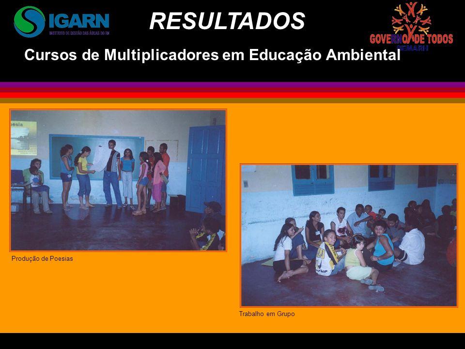 Cursos de Multiplicadores em Educação Ambiental Produção de Poesias Trabalho em Grupo RESULTADOS