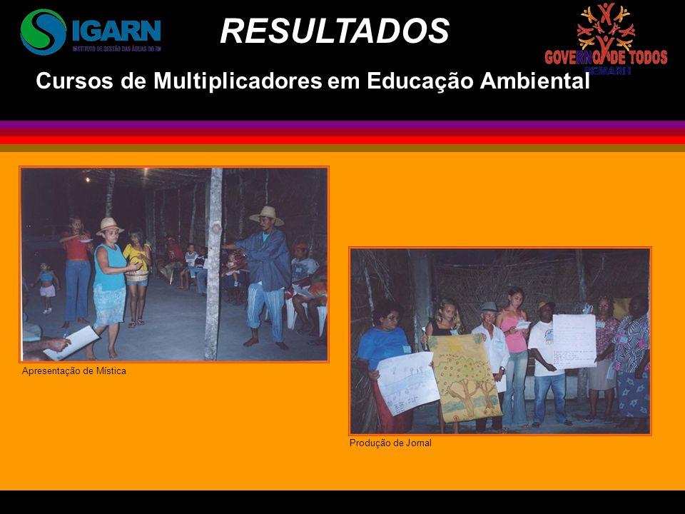 Cursos de Multiplicadores em Educação Ambiental Apresentação de Mística Produção de Jornal RESULTADOS