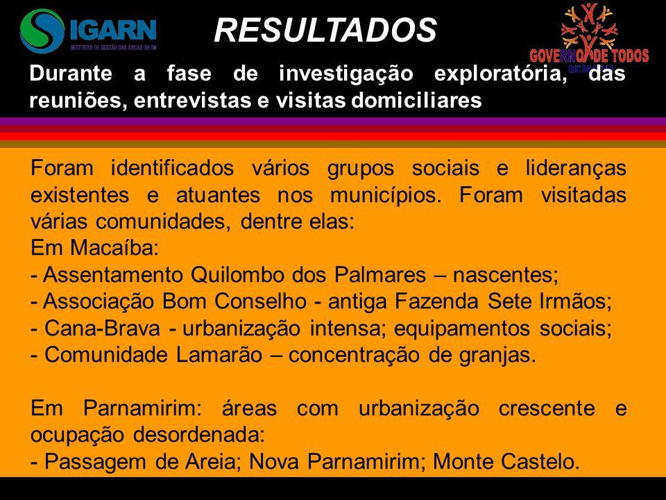 Foram identificados vários grupos sociais e lideranças existentes e atuantes nos municípios.