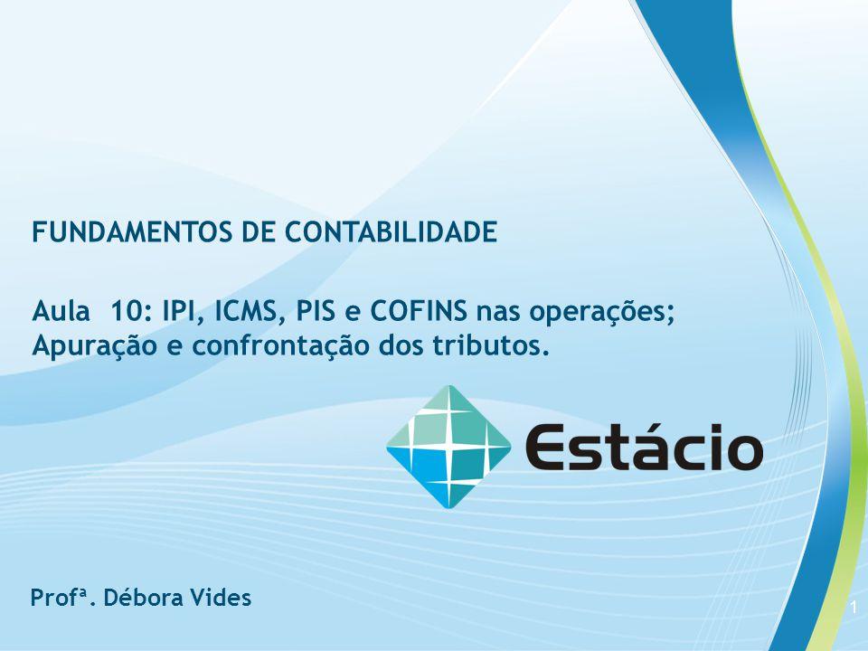 Aula 10 FUNDAMENTOS DE CONTABILIDADE Exemplo : Uma empresa em 05 de abril comprou a vista 5.000 unidades por R$ 4,00 cada, com incidência de 18 % de ICMS, 1,65 % de PIS e 7,6% de COFINS.