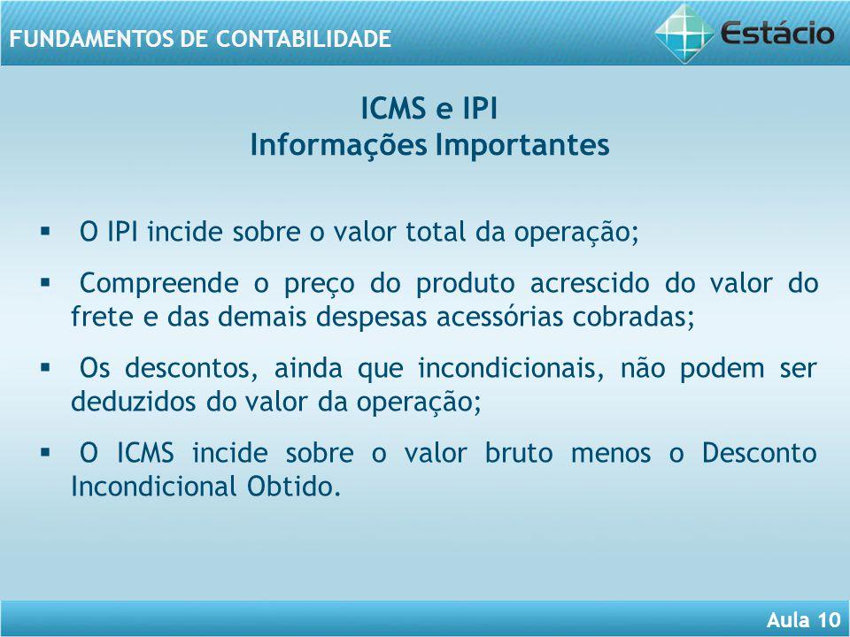 Aula 10 FUNDAMENTOS DE CONTABILIDADE O IPI incide sobre o valor total da operação; Compreende o preço do produto acrescido do valor do frete e das dem