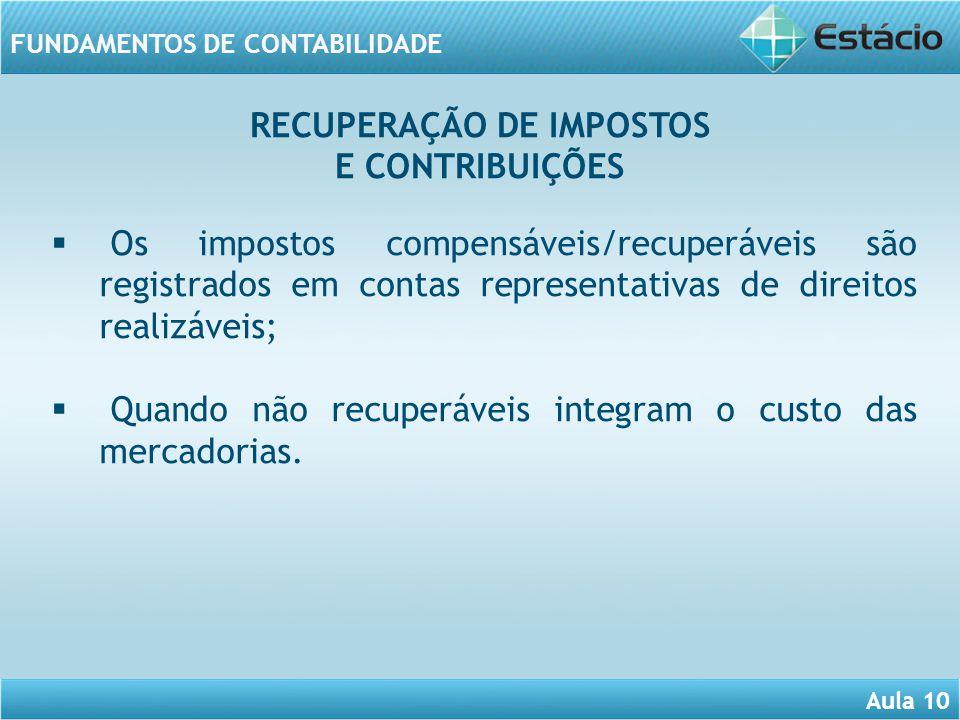 Aula 10 FUNDAMENTOS DE CONTABILIDADE Os impostos compensáveis/recuperáveis são registrados em contas representativas de direitos realizáveis; Quando n