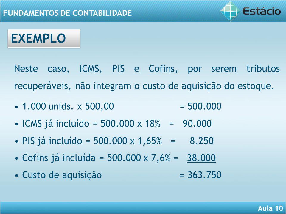 Aula 10 FUNDAMENTOS DE CONTABILIDADE Neste caso, ICMS, PIS e Cofins, por serem tributos recuperáveis, não integram o custo de aquisição do estoque. 1.
