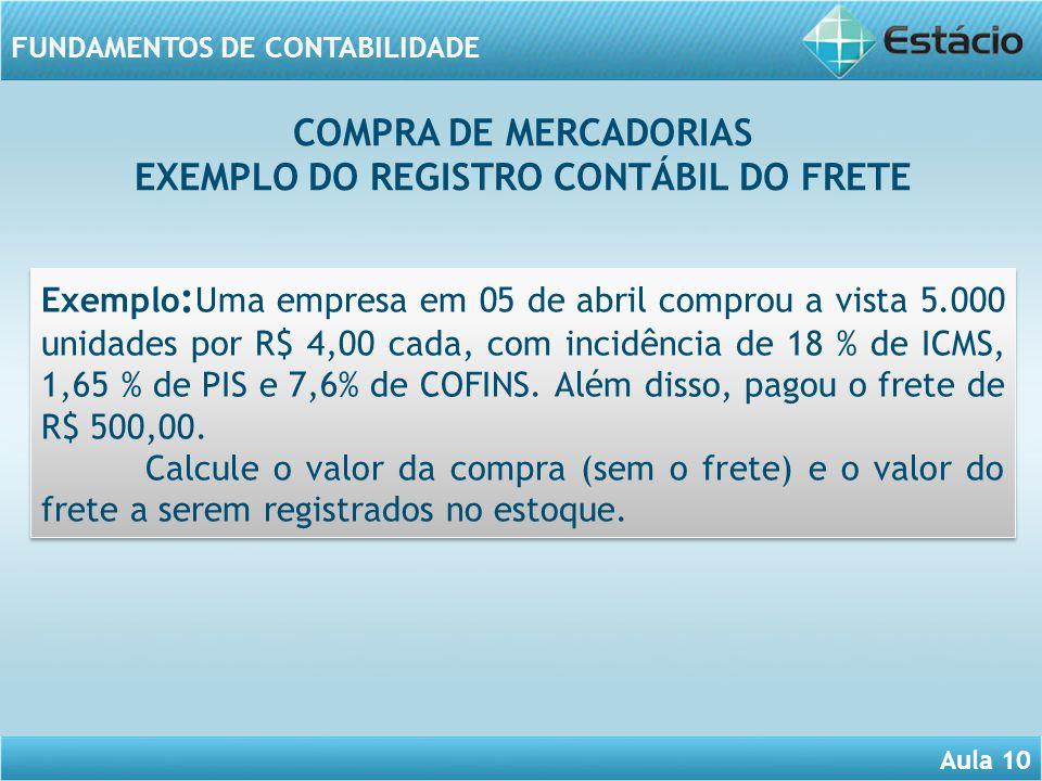Aula 10 FUNDAMENTOS DE CONTABILIDADE Exemplo : Uma empresa em 05 de abril comprou a vista 5.000 unidades por R$ 4,00 cada, com incidência de 18 % de I