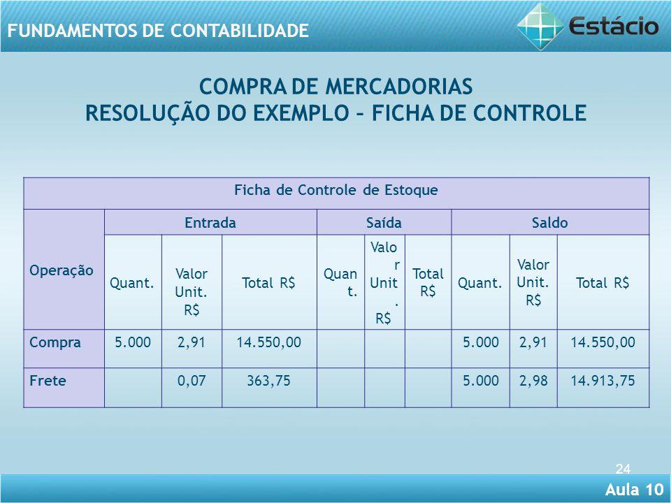 Aula 10 FUNDAMENTOS DE CONTABILIDADE 24 COMPRA DE MERCADORIAS RESOLUÇÃO DO EXEMPLO – FICHA DE CONTROLE Ficha de Controle de Estoque Operação EntradaSa