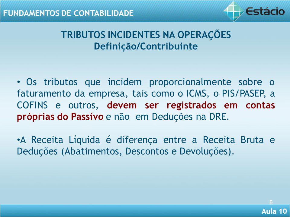 Aula 10 FUNDAMENTOS DE CONTABILIDADE 5 Os tributos que incidem proporcionalmente sobre o faturamento da empresa, tais como o ICMS, o PIS/PASEP, a COFI