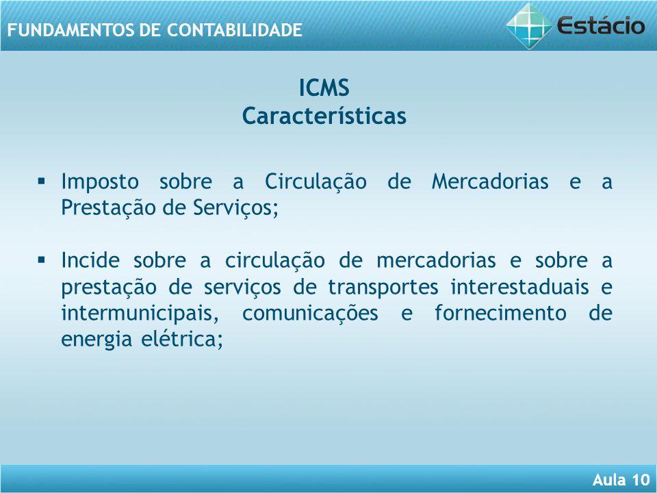 Aula 10 FUNDAMENTOS DE CONTABILIDADE Imposto sobre a Circulação de Mercadorias e a Prestação de Serviços; Incide sobre a circulação de mercadorias e s