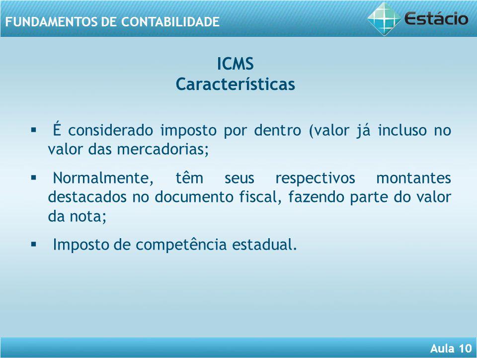 Aula 10 FUNDAMENTOS DE CONTABILIDADE É considerado imposto por dentro (valor já incluso no valor das mercadorias; Normalmente, têm seus respectivos mo