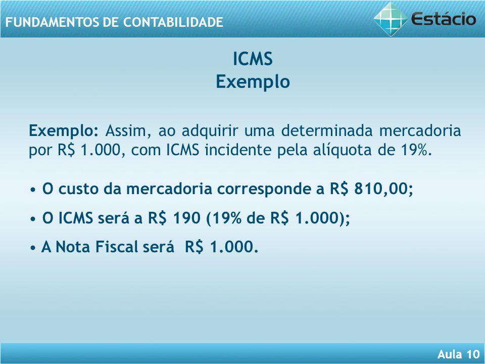Aula 10 FUNDAMENTOS DE CONTABILIDADE Exemplo: Assim, ao adquirir uma determinada mercadoria por R$ 1.000, com ICMS incidente pela alíquota de 19%. O c