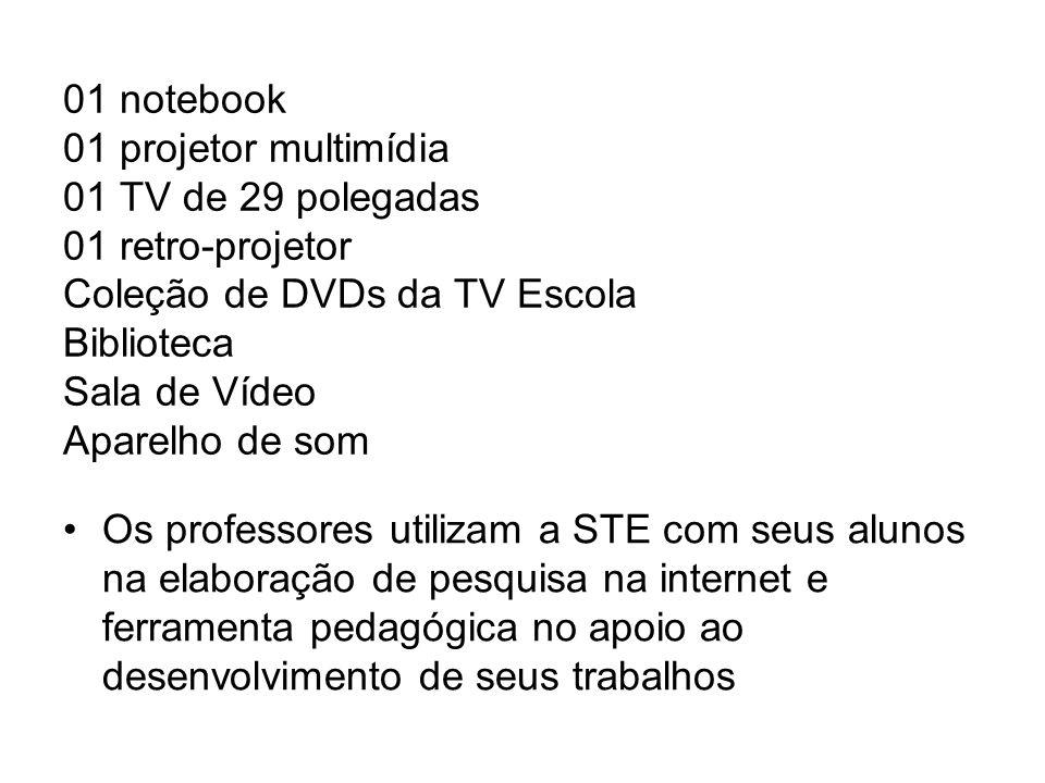 01 notebook 01 projetor multimídia 01 TV de 29 polegadas 01 retro-projetor Coleção de DVDs da TV Escola Biblioteca Sala de Vídeo Aparelho de som Os pr